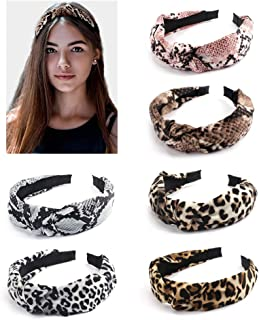 BAHABY 6 Pack Leopard Headbands Knotted Headbands for Women Top Knot Headbands for Women Hairbands for Women Headbands Women Hair