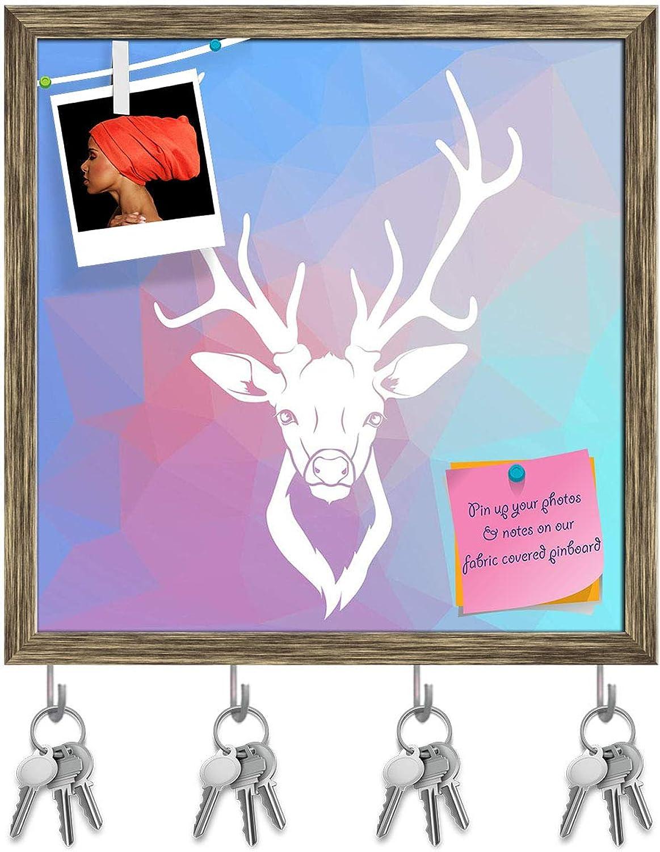 Artzfolio Deer Head D2 Key Holder Hooks   Notice Pin Board   Antique golden Frame 16 X 16.1Inch