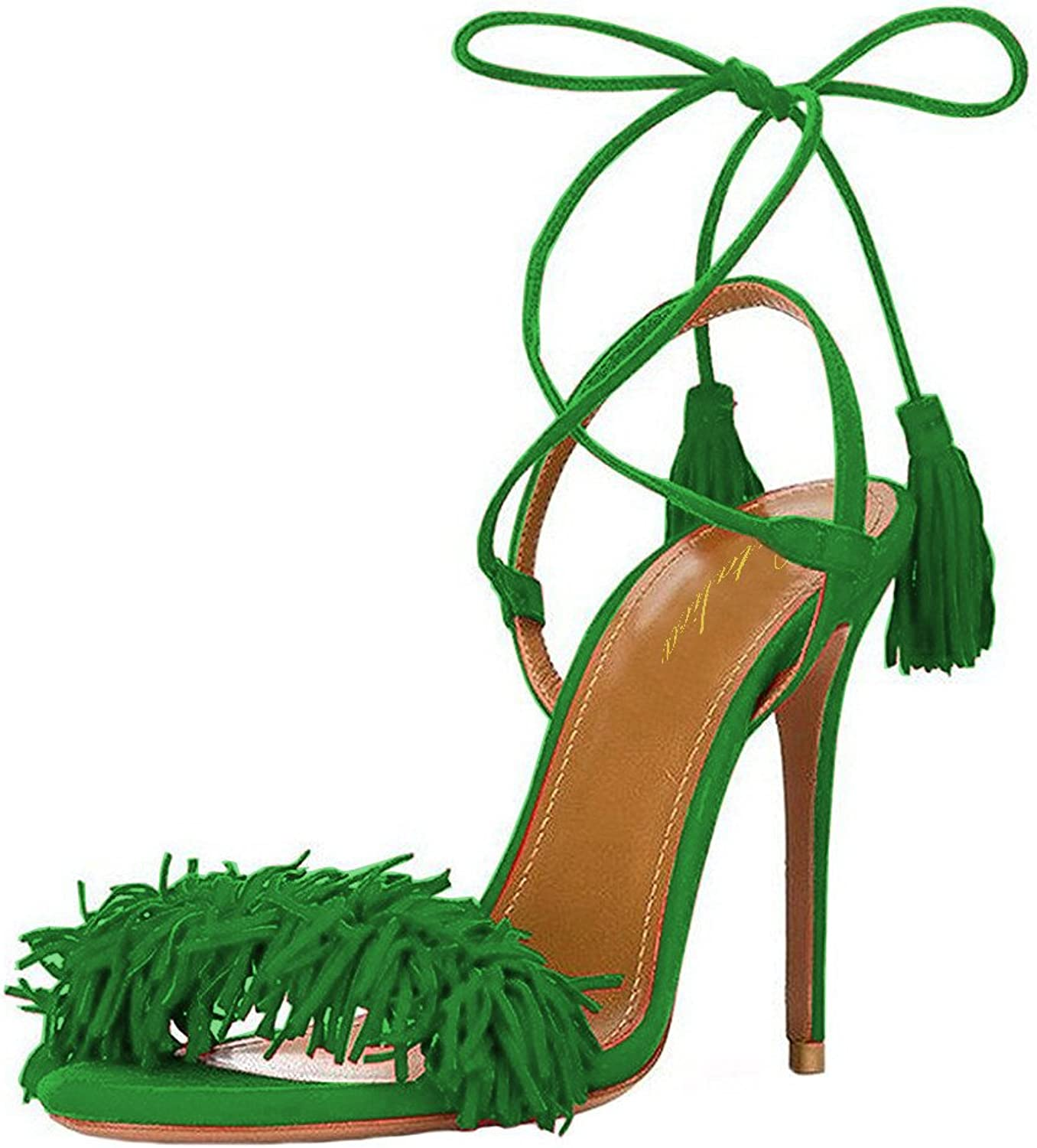 Lutalica Women Ankle Straps Stiletto High Heels Lace up with Tassel Summer Sandals Size 5.5-12 US