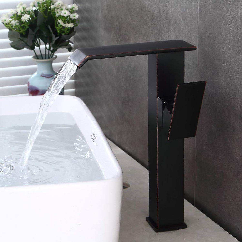 YHEGV Wasserhahn schwarz Kupfer europischen Becken heien und kalten Wasserhahn Retro Badezimmer Wasserfall Wasserhahn
