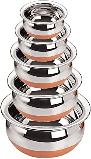 LIMBAKSHIT Stainless Steel Handi with Copper Bottom 550, 750, 1250, 1750 ml (Silver) - Set of 5