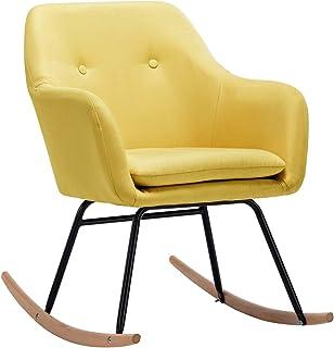 pedkit Silla Mecedora Silla de Relax Sillón de Relax de Tela Amarillo Mostaza 60 x 71 x 79 cm