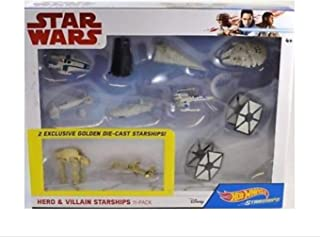 Hot Wheels Star Wars Hero and Villains 11 Pack with 2 Golden Die Cast Starships