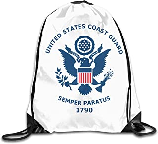 Coast Guard Flags Drawstring Shoulder Bag Bundle Pocket Fitness Sport Bag