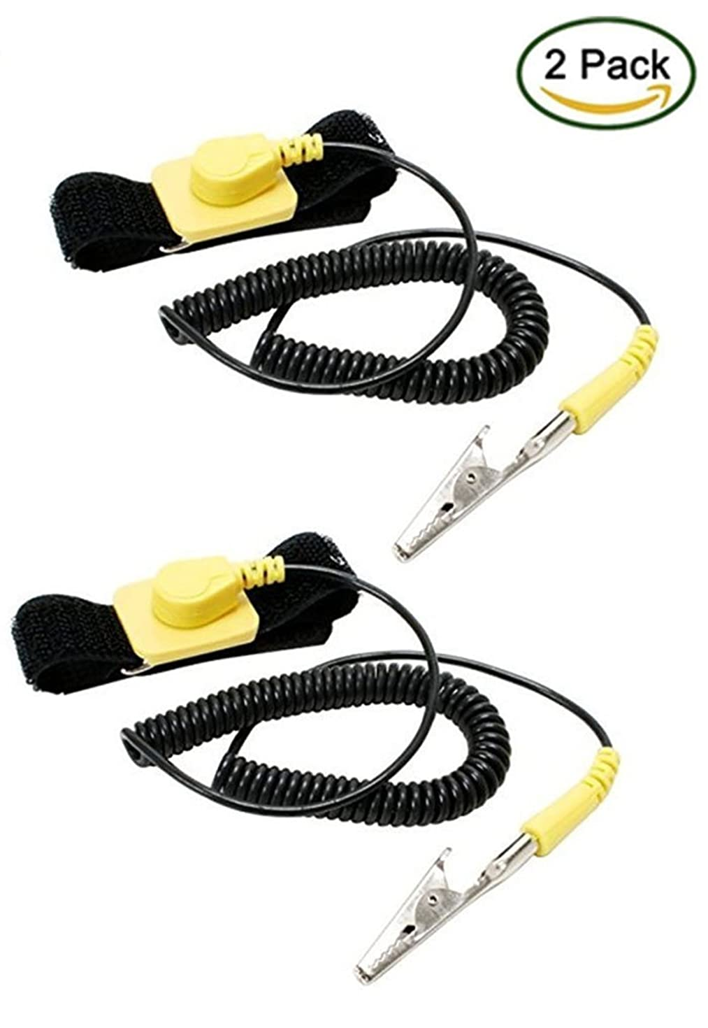 iMBAPrice? (Pack of 2) Anti-Static Adjustable Grounding Wrist Strap Components Black, Yellow