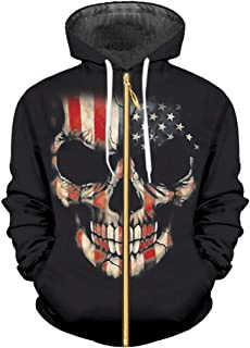 1620c51ba0f701 Skull American Flag Printing Sweatshirt Hip Hop Autumn Winter Zipper  Pullovers