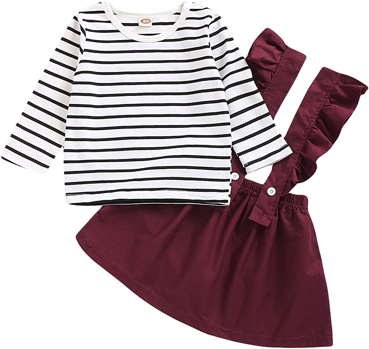 SOBOWO Toddler Baby Girl Outfits Suspender Skirt Sets Ruffle Long Sleeve Romper Top Overall Dress Fall Winter Clothes