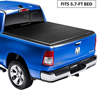 "Lund Genesis Elite Tri-Fold Soft Folding Truck Bed Tonneau Cover | 95865 | Fits 2009-18, 19/20 Classic Dodge Ram 1500 5' 7"" Bed"