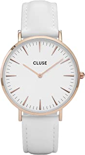 CLUSE La Bohème Rose Gold White White CL18042 Women's Watch 38mm Leather Strap Minimalistic Design Casual Dress Japanese Quartz Elegant Timepiece