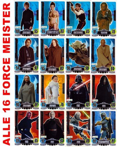 STAR WARS FORCE ATTAX SERIE 3 - Movie Card Collection - Deutsch - Alle 16 Force Meister Karten