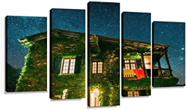 Beautiful countryside house at night Modern Art Painting set Digital Print Picture on Canvas Framed Artwork Wall Decor Living Room Office Bedroom 5 Pieces