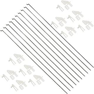 WMYCONGCONG 10 PCS 1.2x260mm Steel Push Rods Parts + 10 PCS Nylon Micro Control Horns 20x11mm 4 Holes for RC Airplane Plane DIY Parts