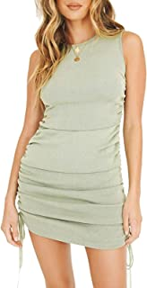 YIGC Sexy Sleeveless Drawstring Bodycon Dress,Ruched Slim Fit Mini Dress for Par