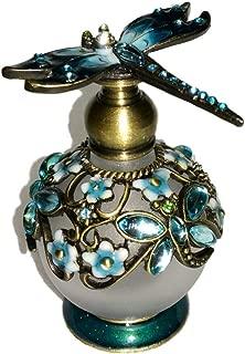 Welforth Jeweled Dragonfly Turquoise Blue & Flower Enamel Crystal Perfume Bottle