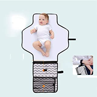 Baby Portable Changing Pad, Portable Diaper Changing Pad, Diaper Bag for Newborn boy & Girl- Baby Changing Pad with Smart Wipes Pocket – Waterproof Travel Mat Changing Station kit