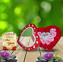 SKY TRENDS Multi Color Light Style Heart Shaped Box with Rose Flowers and Greeting Card-002