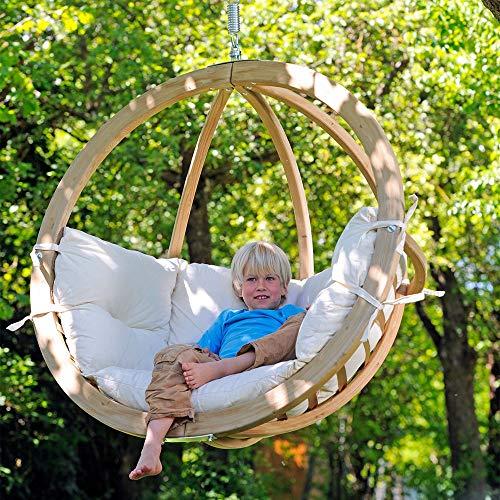 Poltrona sospesa Swing Chair | Poltrona sospesa da giardino, sedia a dondolo sospesa, poltrona pensile Per i toui momenti di puro relax Poltrona singola in legno, cuscino ecru beige 100% cotone