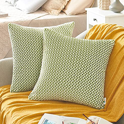 PAULEON Throw Pillow Covers 18x18 – Green and White, Set of 2 – Melange Effect – Plush and Soft Fabric – Chevron Pattern – Decorative Pillows for Living Room – Perfect for Couch, Bed