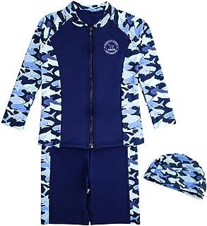 Teddy キッズ 水着 男の子 長袖ラッシュガード 短パン 水泳帽子 3点セット 子供用 紫外線対策 kids395