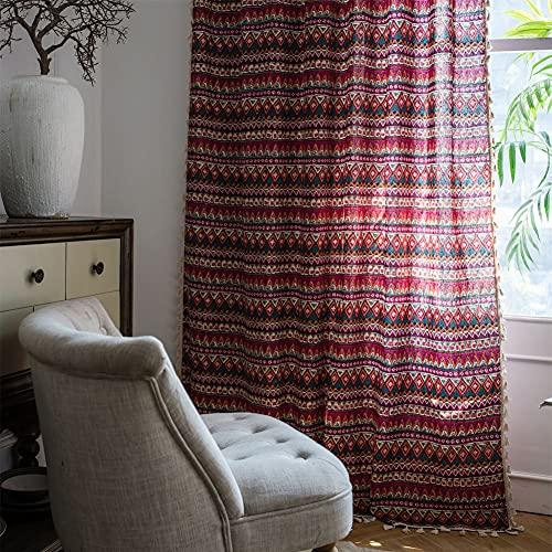 Tende da finestra semi-oscurante a forma di triangolo rosso 1 pezzo per soggiorno camera da letto, stile asta di usura 59 'W x 102' L (150x260 cm)