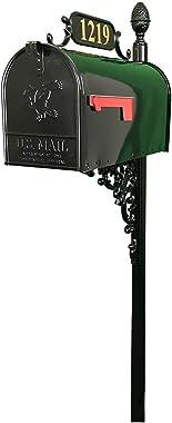 ADDRESSES OF DISTINCTION Oak Standard Mailbox & Post Kit – Black Mailbox System – Includes Address Plaque, Numbers &