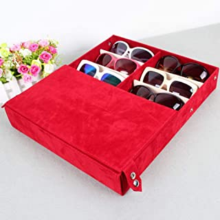 Fashion Eyewear Display Storage Case Tray Sunglasses Display Case Sunglass Retro (Color : Blue)