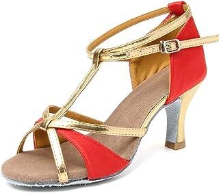 HIPPOSEUS Zapatos de Baile Latino con Correa en T para Mujer Zapatos de práctica de Baile de salón de Cuero de Lentejuelas...