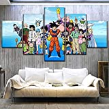 WARMBERL Cuadro sobre Lienzo Canvas Printed Painting One Set 5 Panel Anime Dragon Ball Super Characters Poster Wall Art Home Decor Bedroom Picture Marco Nuevo Impresiones En Lienzo