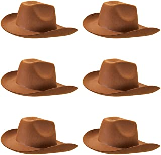 6-Pack Cowboy Hat Halloween Accessory - Dress Up Theme Party Roleplay & Cosplay Headwear