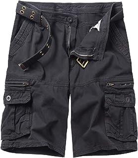 Men's Lightweight Multi Pocket Casual Cargo Shorts with No Belt