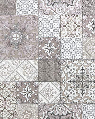 Küchen Bad Tapete EDEM 87001BR13 Vinyltapete leicht strukturiert mit Kachelmuster und metallischen Akzenten beige taupe weiß silber 5,33 m2