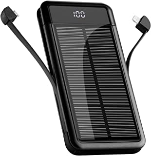 【2020最新版 モバイルバッテリー 】10000mAh モバイルバッテリーソーラー チャージャー 大容量 LCD残量表示 2ケーブル内蔵(Lightning+Micro USB) 【PSE認証済】 軽量 薄型 急速充電 スマホ充電器 携帯バッ...