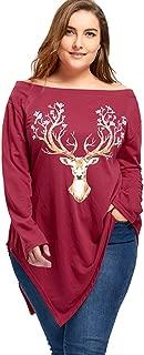 DEZZAL Women's Christmas Reindeer Print Off Shoulder Asymmetrical Top