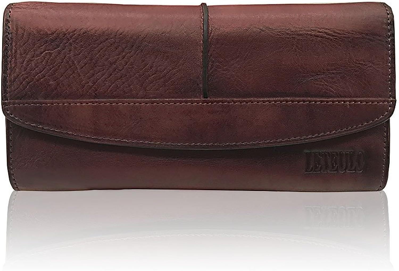 Women's Wallets Large Capacity Luxury Genuine Leather Handmade Dip Dye Card Holder(882Coffee)