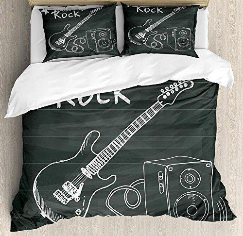 Funda de edredón de guitarra Juego de edredón de edredón de microfibra de 3 piezas Fundas de cama con cremallera, amor The Rock Música temática Sketch Art Sound Box y texto en pizarra Gris carbón Blan