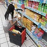 Organisateur de siège auto Portable avec panier Tie Rod Home Shopping pliant SupermarketShopping Chariot, Convient for Supermarché shopping (Color : Red)