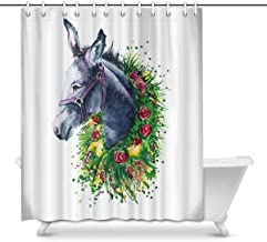 Watercolor Donkey with Flowers House Decor Shower Curtain for Bathroom, Decorative Fabric Bath Curtain Set with Rings, 72(...