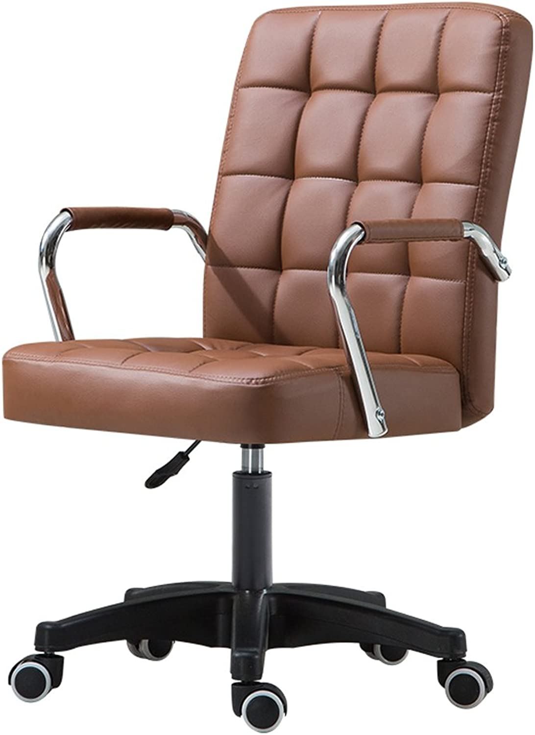 SUNHAI Office Swivel Chair Simple Computer Chair Home Conference Chair Staff Bow Student Chair Dormitory Lift redating Chair (color   Brown, Size   A)
