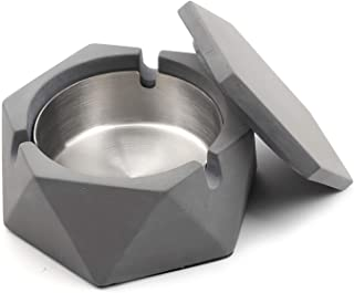 Concrete Ashtray with lid Geometric Cigarette Ashtray Outdoor Ashtray with Stainless Steel Inner Tray Nordic Style