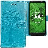 CLM-Tech kompatibel mit Motorola Moto G6 Plus Hülle, Tasche aus Kunstleder, Baum Eule blau, PU Leder-Tasche für Moto G6 Plus Lederhülle
