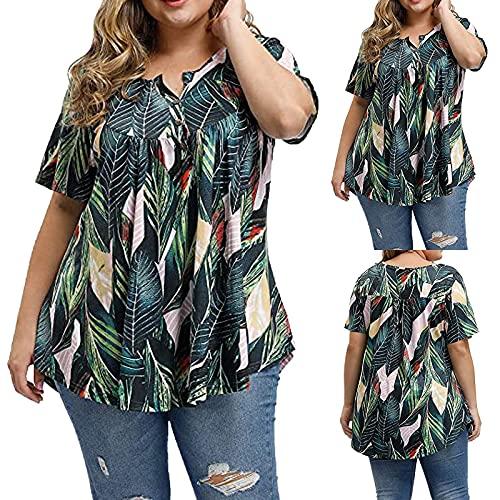 YWLINK Moda para Mujer Tallas Grandes SóLido Hombro Camiseta Manga Corta Tops Blusa Camiseta De Gasa para Mujer Casual Paridad Top Holgado De Gran TamañO con Estampado XL-XXXXL (Verde, XL)