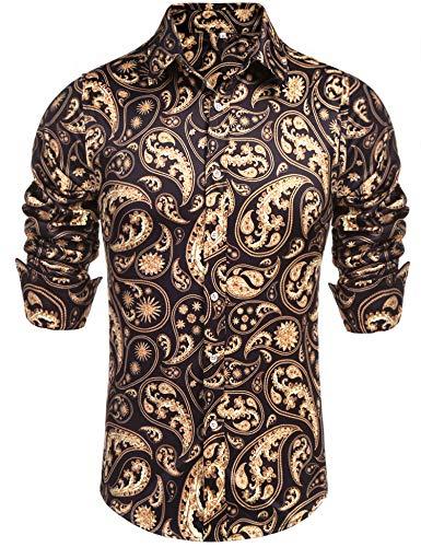 Daupanzees - Camisa de Vestir de Manga Larga para Hombre, diseño Dorado - Medium