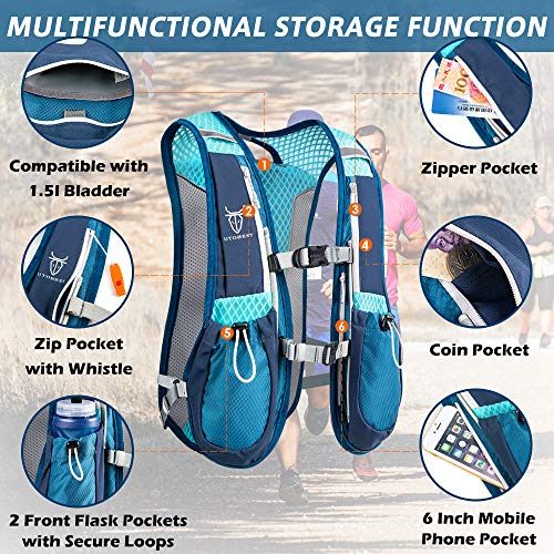 UTOBEST Running Backpacks Lightweight Hydration Pack Functional Running Vest 5.5L(Blue)