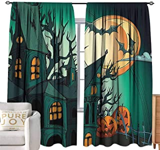 Tie-Up Window Curtain Anime Decorations,Haunted Medieval House Theme Cartoon Bats in Twilight Gothic Fiction Spooky Art,Orange Teal W96 x L108 inch,Adjustable Tie Up