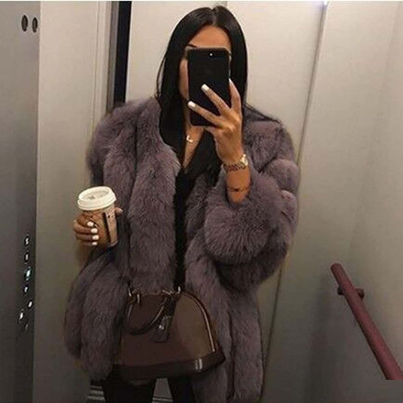 FlekmanArt Women's Plush Jacket Round Neck Fashion Cardigan Winter Warm Temperament Long Sleeve Faux Fur Coat