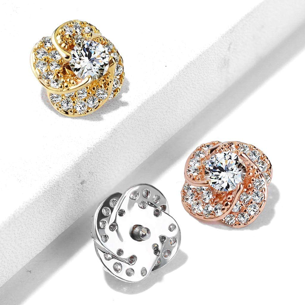 FIFTH CUE 14G CZ Paved & Round CZ Center Rose Blossom 316L Surgical Steel Internally Threaded Dermal Anchor Top