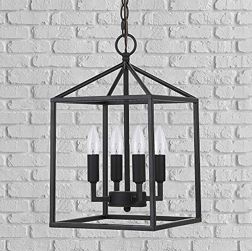 Cerdeco 37940BK Vintage Foyer Lantern, 4-Light Pendant Light, Matte Black [UL Listed]