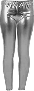 Women Metallic Leggings Foil Wet Look Shiny Ladies Pant Disco Party Club Legging#(Silver Metallic Shiny Legging#UK 12#Womens)