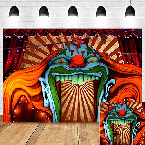 Scary Circus Decorations Photo Background Red White Stripe Evil Giant Halloween Photo Booth Haunted House Entrance Vinyl Clown Horror Party Birthday Supplies Banner 5x3ft Photography Backdrop