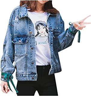 Womens Coat, Denim Jacket Vintage Short Jeans Jackets Outwear Casual Embroidery